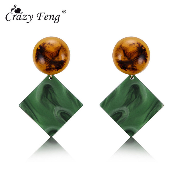 Crazy Feng Boho Ethnic Acrylic Acetic Acid Drop Earrings For Women Fashion Natural Stone Square Long Dangle Earrings Accessories