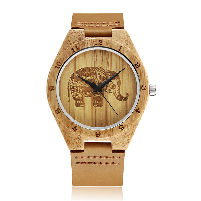 GORBEN W105 Unique Wood Watches Male With Elephant Pattern Dial Carved Scale Wooden Quartz Wristwatch For Men Women Gift