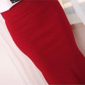 Image 3 - Korean Women Long Skirts High Waist Slim Thin Slit Skirt Saia Longa Rib Tight Package Hip Skirt  MY917