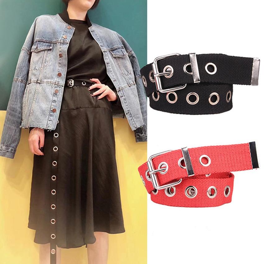Long Personality Design HOT casual ring black metal belt female students jean canvas waist belts tide silver pin buckle Men lady