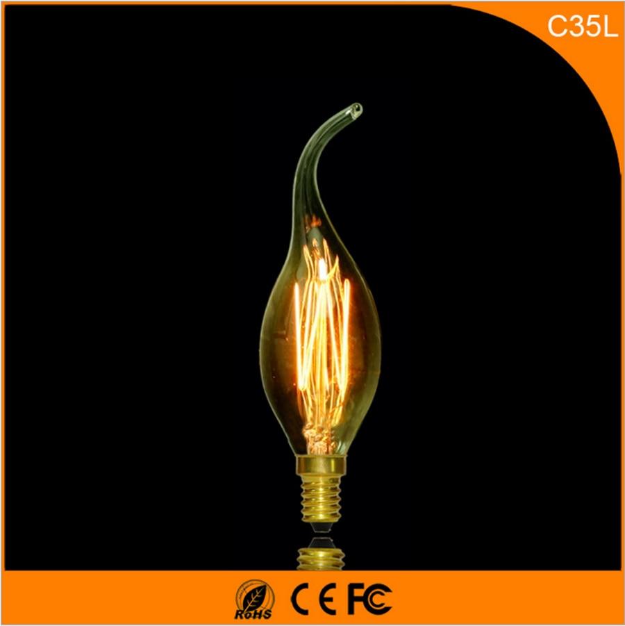 50Pcs 25W Vintage Design Edison Filament E12 E14 LED Bulb,C35L Energy Saving Decoration Lamp Replace  Incandescent Light AC220V 5pcs e27 led bulb 2w 4w 6w vintage cold white warm white edison lamp g45 led filament decorative bulb ac 220v 240v