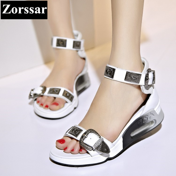 {Zorssar} Summer Women shoes wedges High heels platform Casual sandals 2017 Fashion Genuine leather women's heels pumps shoes phyanic 2017 gladiator sandals gold silver shoes woman summer platform wedges glitters creepers casual women shoes phy3323