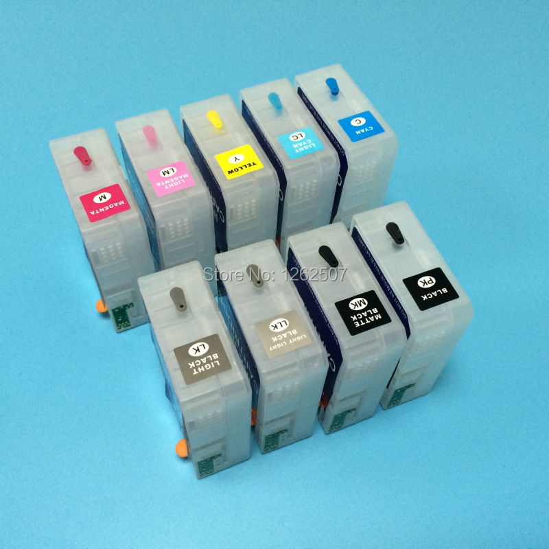 T5801 T5802 T5803 T5804 T5805 T5806 T5807 T5808 T5809 with Refillable ink cartridge Chip sensor for epson 3800 printer t499 t504 refill ink cartridge for epson 10600 printer with show ink level resettable cartridge chip 850ml pc