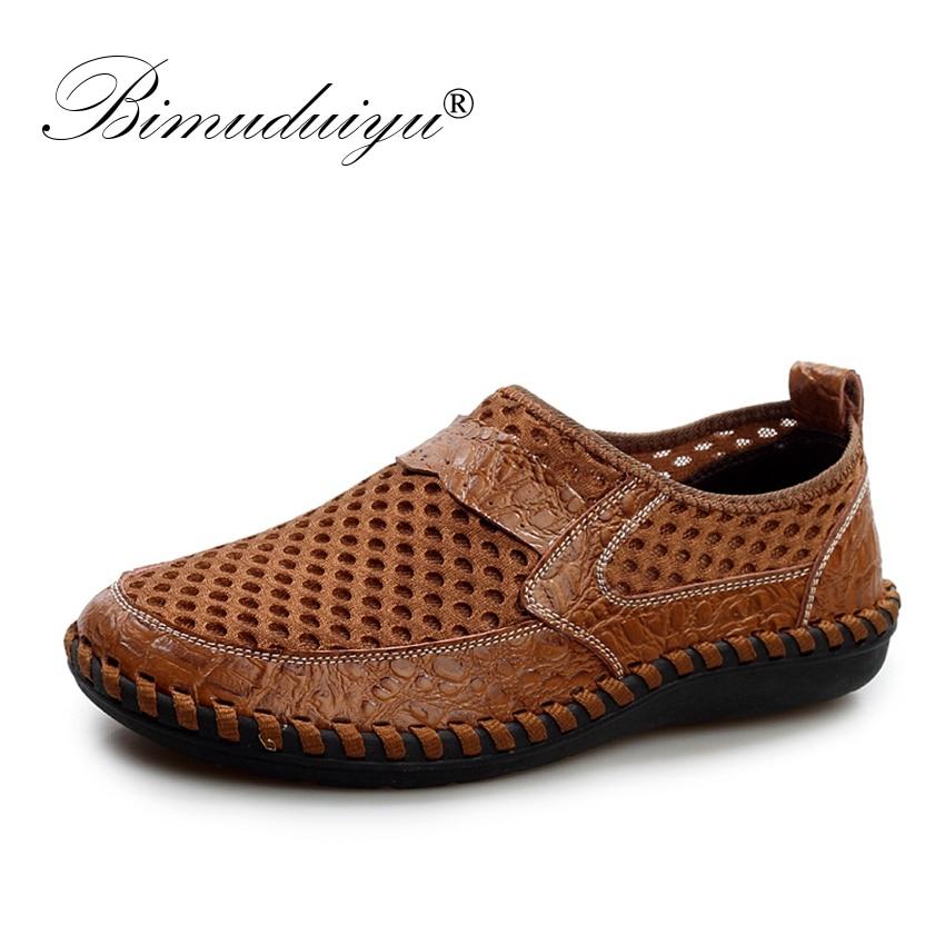BIMUDUIYU Breathable Men's Casual Shoes Summer Shoes Cowhide + Mesh Crocodile Pattern Male Mesh Shoes Plus Size 38-46 Footwear все цены