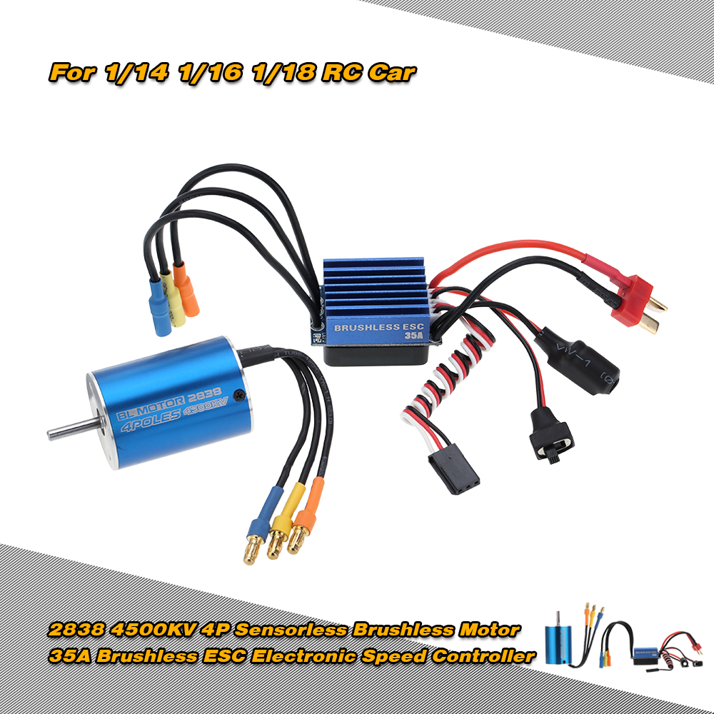 US $22 69 30% OFF|2838 4500KV 4P Sensorless Brushless Motor & 35A Brushless  ESC Electronic Speed Controller for 1/14 1/16 1/18 RC Car-in Parts &
