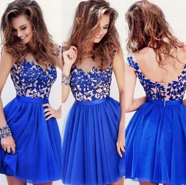 c2a1c32c9 Corto azul real Homecoming vestidos encaje princesa sencilla con Cap mangas  primicia cuello tulle de la