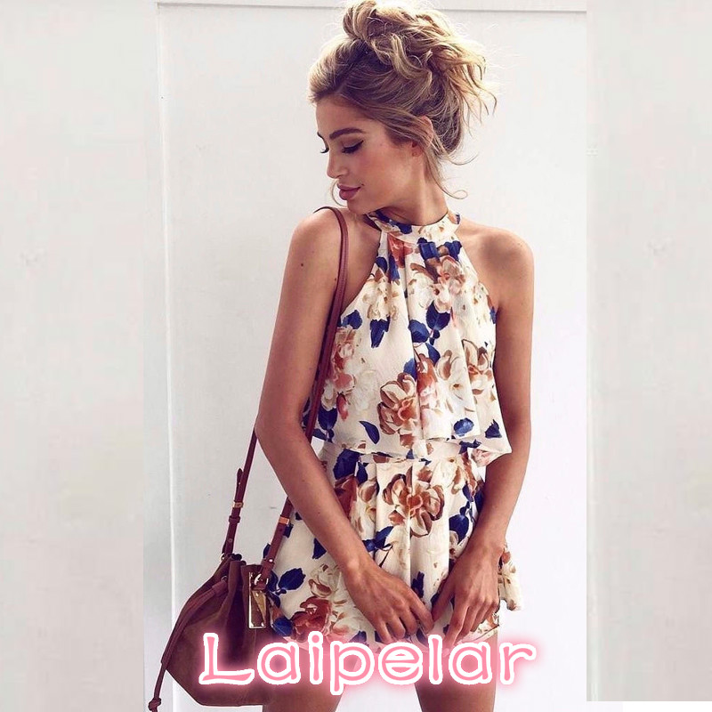 2018 Summer Sleeveless <font><b>Sexy</b></font> Women <font><b>Ensemble</b></font> <font><b>Femme</b></font> Off Shoulder Floral Print Chiffon Two Piece Beach Set Crop Tops + <font><b>Shorts</b></font> w1860 image