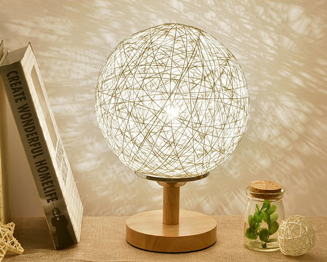 Table Lamp Modern Sepak Takraw Wood Protect Eyesight Desk Lamp For Home Bedroom Living Room Decoration Bedside Lamp 10color