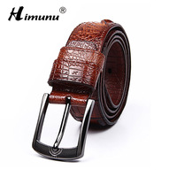 [HIMUNU] Newest Quality Alligator Grain Genuine leather Belt For men Fashion Vintage Male Pin Buckle For men Belt Cinto macho