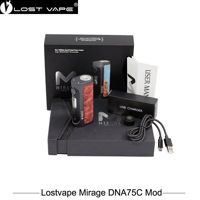 100% Original Lostvape Mirage DNA75C Mod 100w Box Mod Vaporizer powered by 18650 20700 21700 battery Vape VS Alien VGOD PRO 150 original lost vape therion dna75c box mod