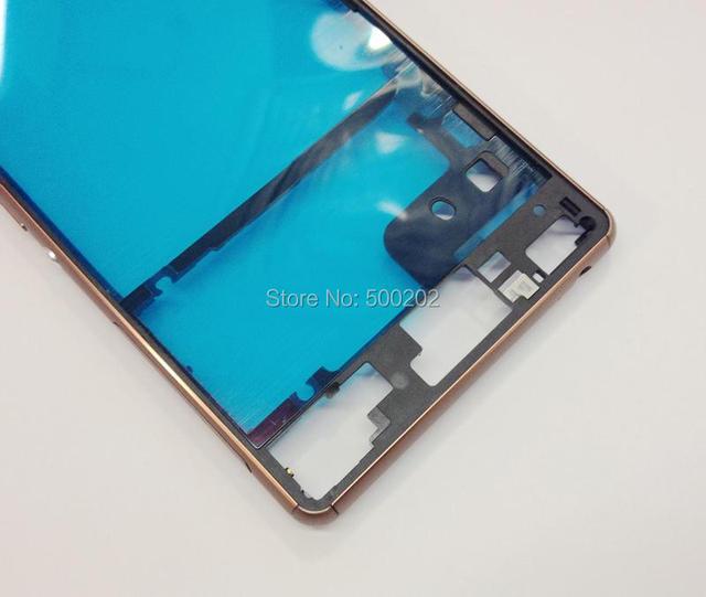 Nova LCD Original Quadro Oriente Moldura Habitação + Botão Lateral Para sony xperia z3 d6603 d6643 d6653 d6616 ouro prata hk post livre