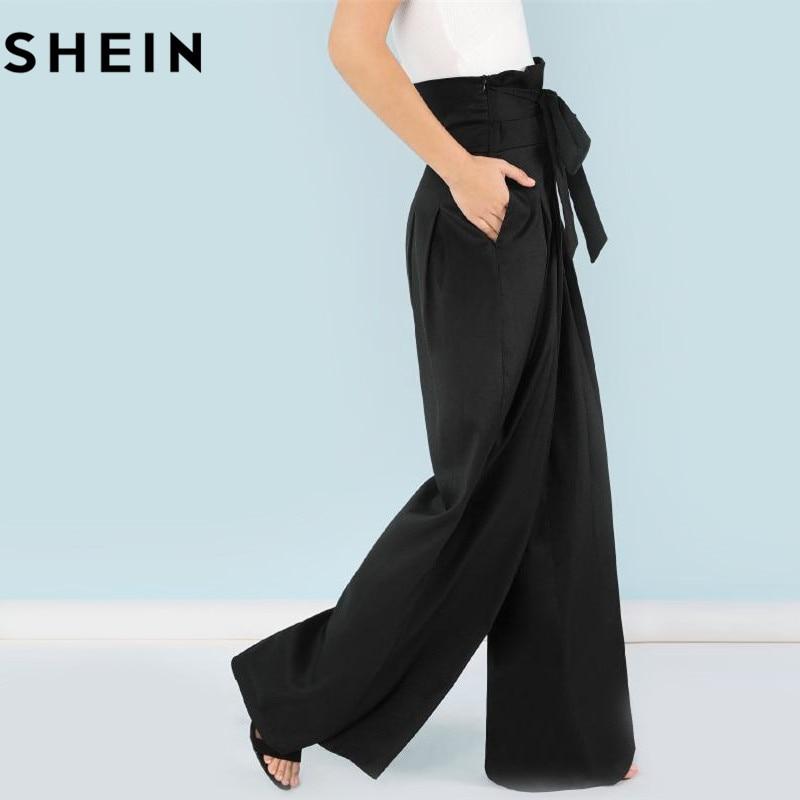 SHEIN Self Belted Box plisado Palazzo pantalones mujeres elegantes sueltos  pantalones largos 2018 otoño jengibre cintura alta pantalones de pierna  ancha en ... b40cf875efac