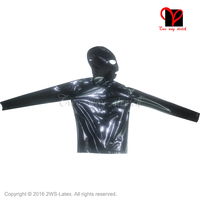 Rubber Latex Shirt With Hood Long Sleeves Fetish Bondage Rubber Top With Mask Undershirt Sexy Black