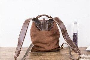 Image 3 - Il nuovo manuale testa strato di pelle bovina zaino ristabilisce i sensi antichi di borse di cuoio delle donne per le donne del sacchetto di mano casuale