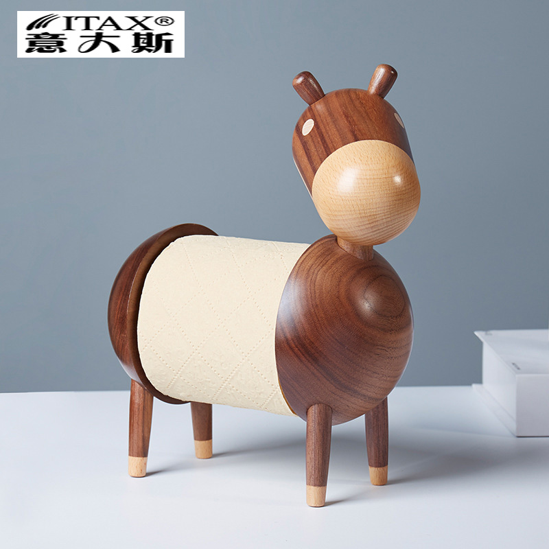 Cartoon Donkey Creative Wood Towel Frame Solid Wood Sanitary Paper Roll Frame Wood Crafts Decoration Individual paper towel rack