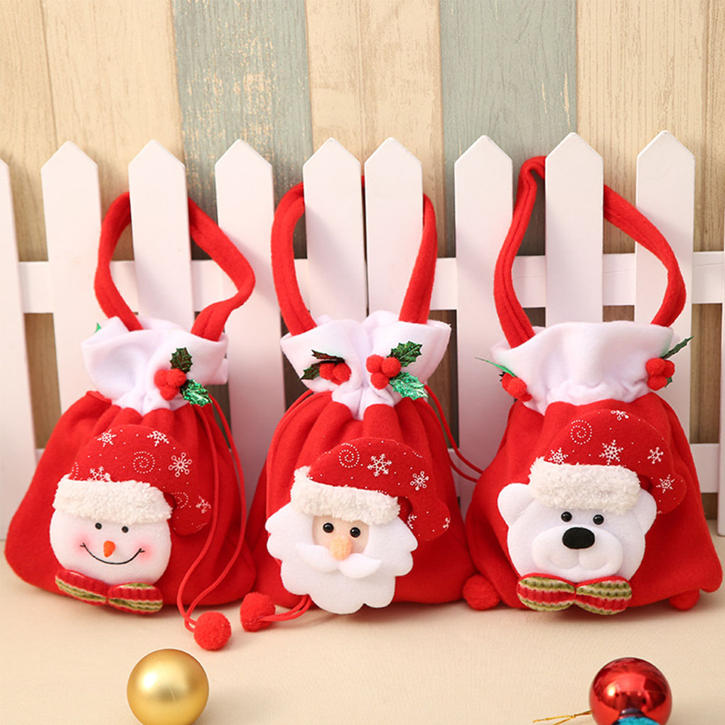 Christmas Sweets.Us 2 19 30 Off 2019 Brand New Christmas Sweets Candy Bag Handbag Santa Claus Snowman Bear Flannelette Sweets Gift Bags Xmas Decor In Stockings
