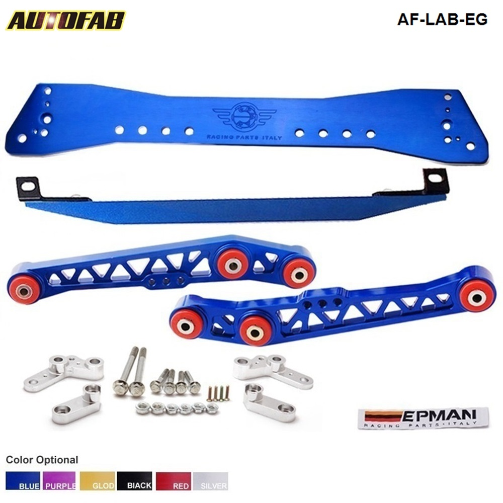 RACING POLISHED LOWER SUBFRAME TIE BAR LOWER CONTROL ARMS COMBO FOR CIVIC EF EG AF LAB
