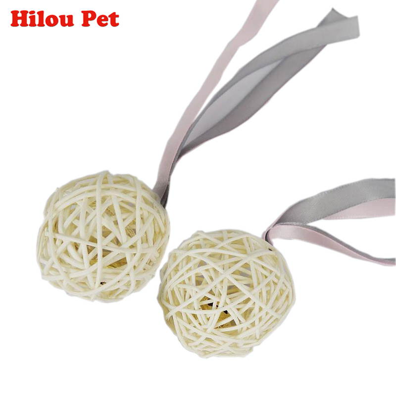 3pcs/pack Funny Pet Cat Toy Handmad Natural Rattan Ball With Colorful Cloth Bell Inside Scratch Ball for Cat Kitten Diameter 5cm