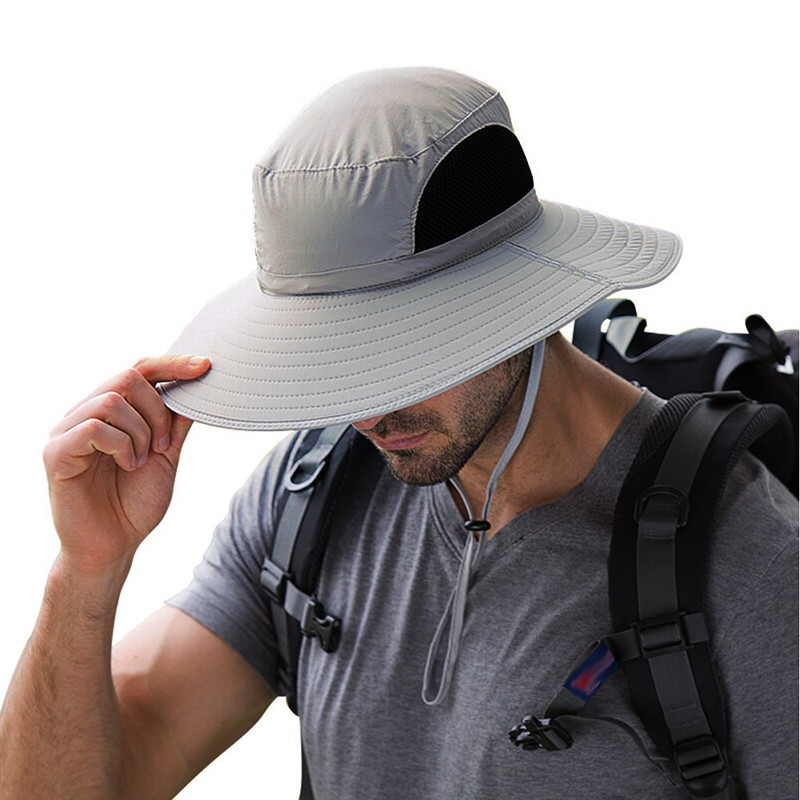 77c24ce7acb1e 2018 Summer Fishing Hat Man Women Wide Brim Breathable Mesh Beach Hats Sun  Men  s Outdoors UV Protection Fishings Cap-in Fishing Caps from Sports ...
