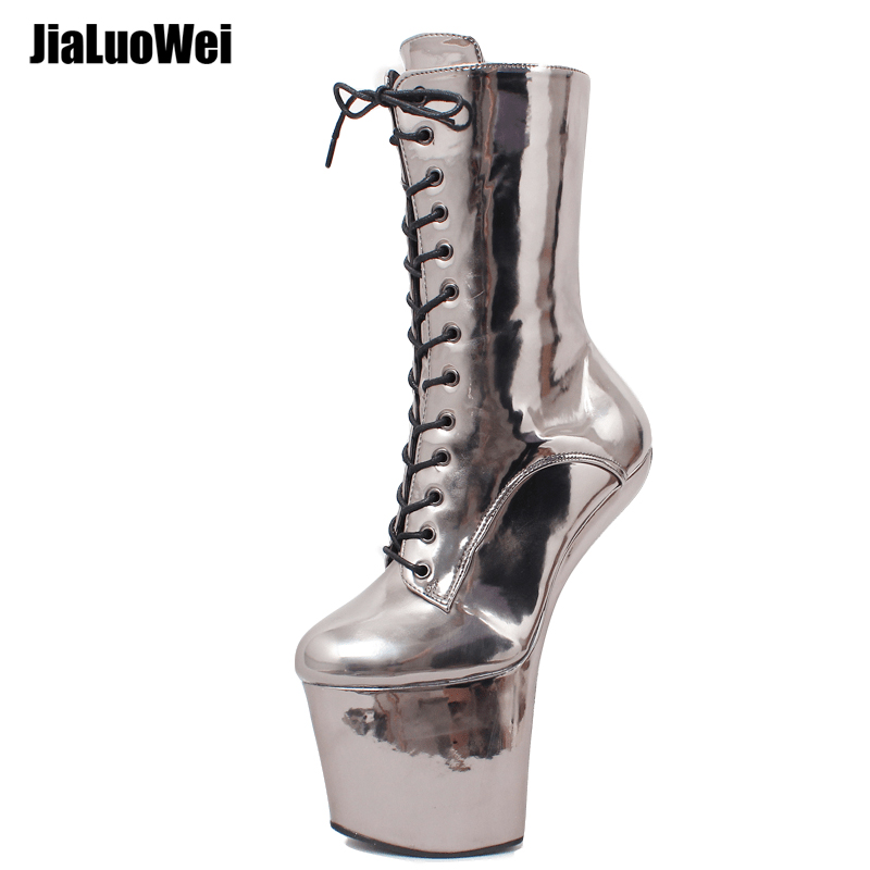 sexy dance boots Wedge Platform Fetish Heelless Lace-up Horse Boot Cosplay Ponyplay Boots