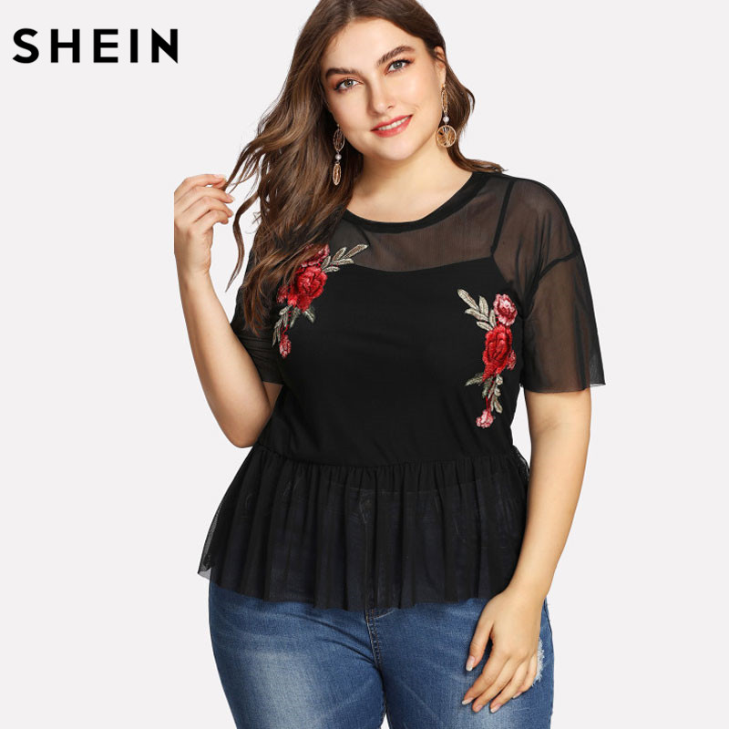 SHEIN Plus Size Summer Black Blouse Women Sexy Floral Round Neck Short Sleeve Embroidered Rose Applique Ruffle Mesh Slim Top 1