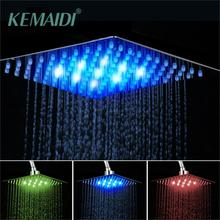 KEMAIDI Bathroom shower head Chrome Brass LED Square Rain Shower Head Top Over Shower Sprayer For 8 /10 /12 /16 /20 /24 hydropower square led color changing shower head for bathroom