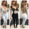 Women Bodysuit Sexy Lace Embroidery Mesh Body Top Long Sleeve Combinaison Femme Bodycon Jumpsuit Plus Size Slim Overalls