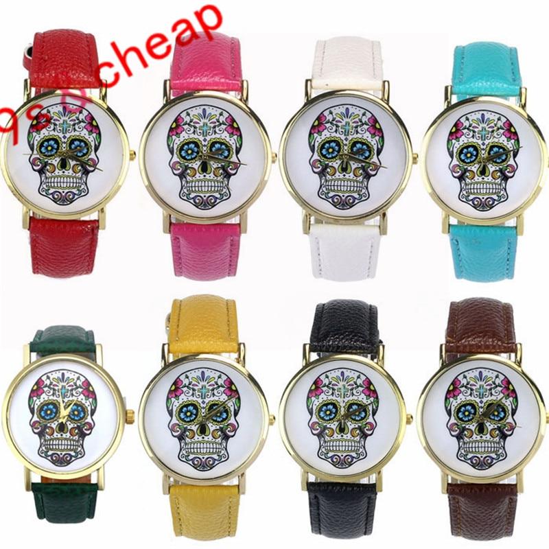 Women Men Punk Skull Analog Watch Leather Band Quartz Wrist Watch Brand New Luxucy High Quality Free Shipping #220717