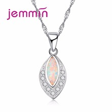 Jemmin New Fine Women Jewelry 925 Sterling Silver Geometric Rhinestone Necklaces For Wedding Accessory White Fire Opal Necklace