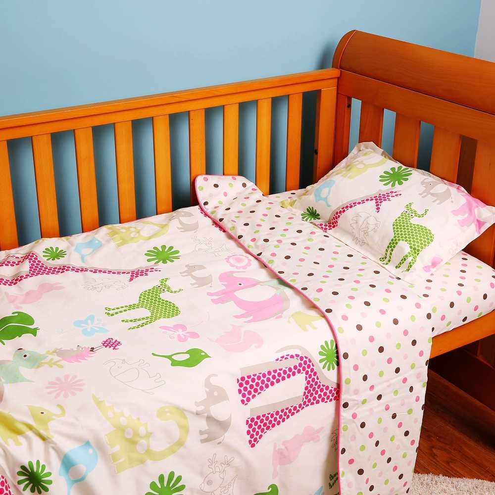 I-Fundamento Do Bebê do bebê Set 5 pcs Conjunto de Berço Bonito Animal Safari 100% Algodão Impresso Folha de Cama Edredon Travesseiro conjuntos para Recém-nascidos