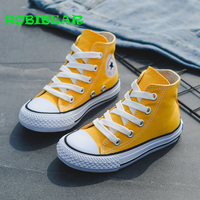 Hot Sale Boys Casual Kids Shoes Yellow Red Girls High Top Canvas Shoe Spring Autumn Children Flat Sneakers Baby Boys School Shoe