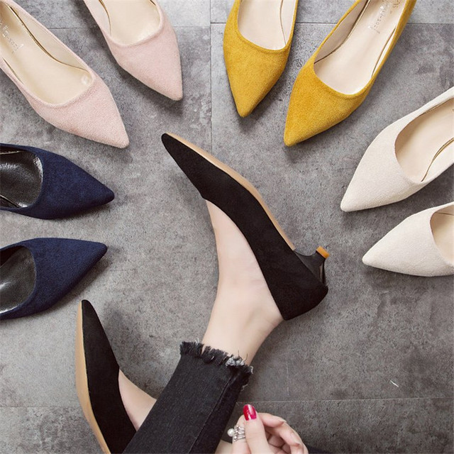 DRFARGO Shoes Women's 3cm Low Heel sexy pointed toed woman pumps Summer Office Work Shoes Black Yellow Pink Zapatos EUR 34 -39