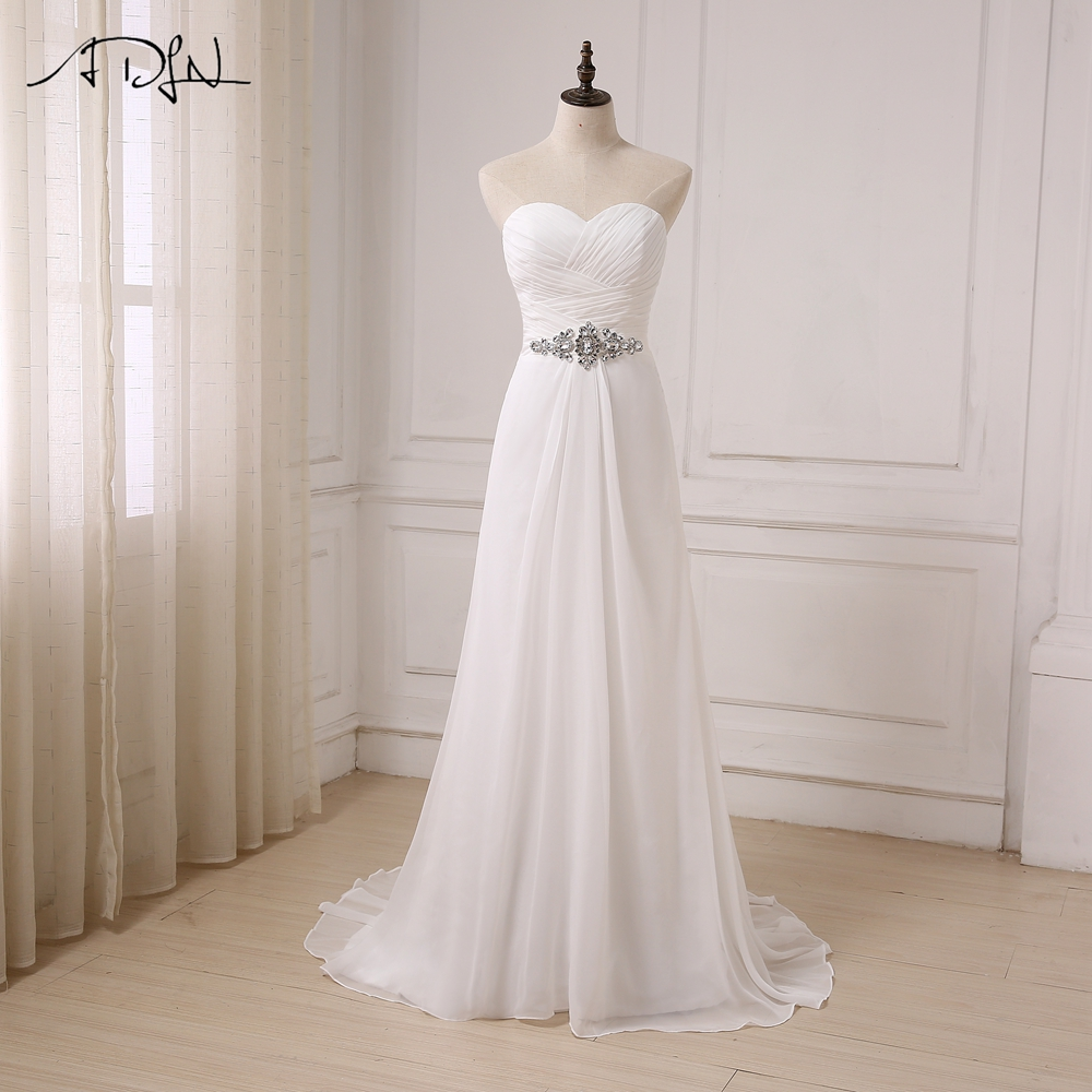 ADLN Real Image White/ Ivory Chiffon Beach Wedding Dresses