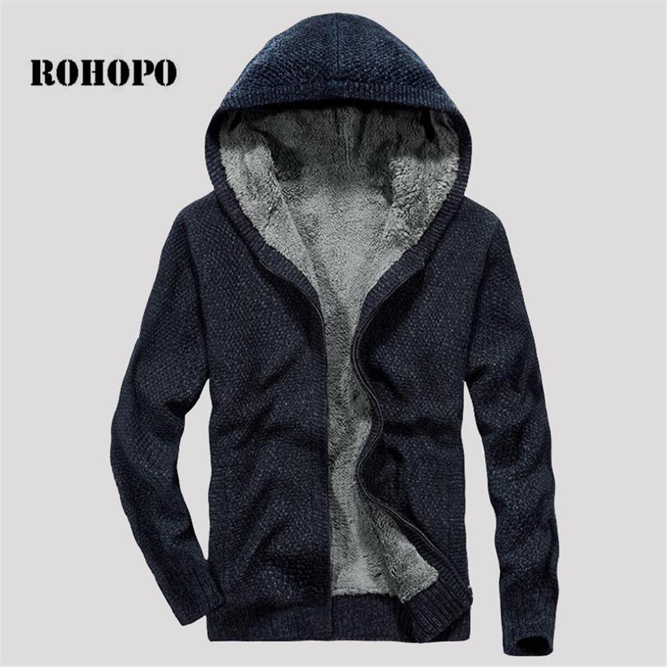 ROHOPO Winter Hooded Man's Cargo Sweater,fleece Cashmere Inner Loose Safari Warm Knitted Cotton Deportes Sweater Men Sueter