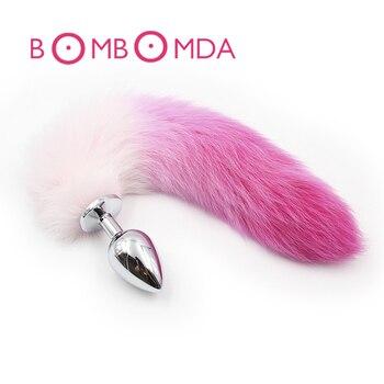 Анальная пробка с лисьим хвостом, металлическая Анальная пробка с градиентным цветом, игрушки для взрослых, анальные секс-игрушки для женщин