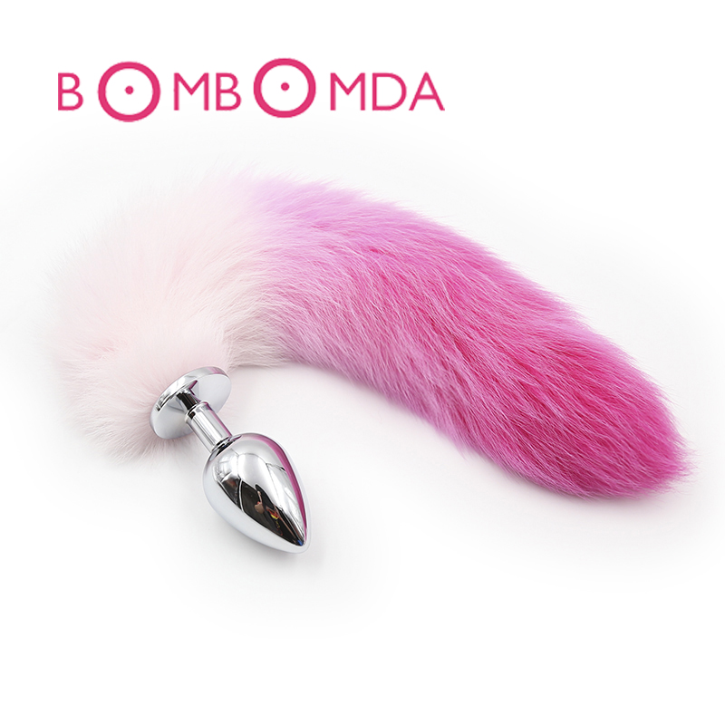 Fox Tail Metal Anal Plug Tail Butt Plug With Gradient Color Adult Toys Anal Sex Toys For Woman 1 pcs metal anal toys fox tail anal plug erotic toys butt plug sex toys for woman and men sexy butt plug adult sex toy