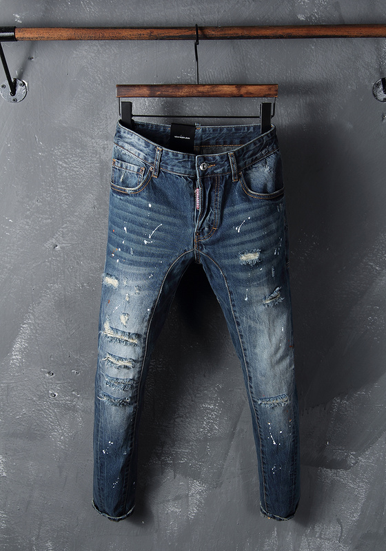 jeans series power of blue wash water strip hole splash ink male leisure trousers