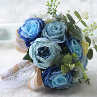 1pc/lot Blue Artificial rose Wedding Bouquets Wedding flower with jute lace for with wedding