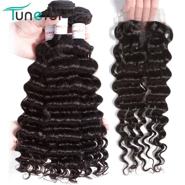 Paquetes de onda profunda con cierre paquetes de cabello humano brasileño con cierre 100% trama de cabello Remy 3 paquetes con cierre