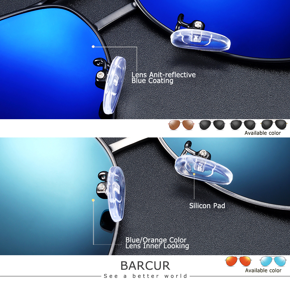 BARCUR Aluminum Magnesium Men's Sunglasses Men Polarized Coating Mirror Glasses oculos Male Eyewear Accessories For Men 3