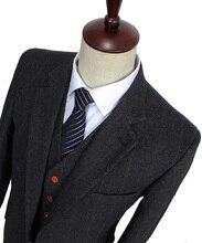 Портной твид темно-серый елочка джентльмен заказ шерсть slim fit ретро свадебные