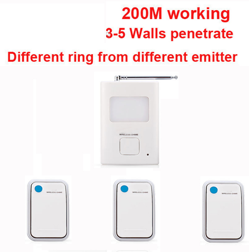 200m work ring bell 3 emitters+1 receivers music doorbell wireless doorbell,wireless door chime bell 36 music door bell ks v2 welcom chime bell sensor
