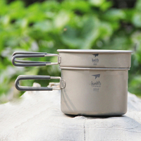Keith Cookware Set Ultralight Titanium Pot Frying Pan Outdoor Camping Titanium Bowl Titanium Cup Picnic 1200ml Ti6012
