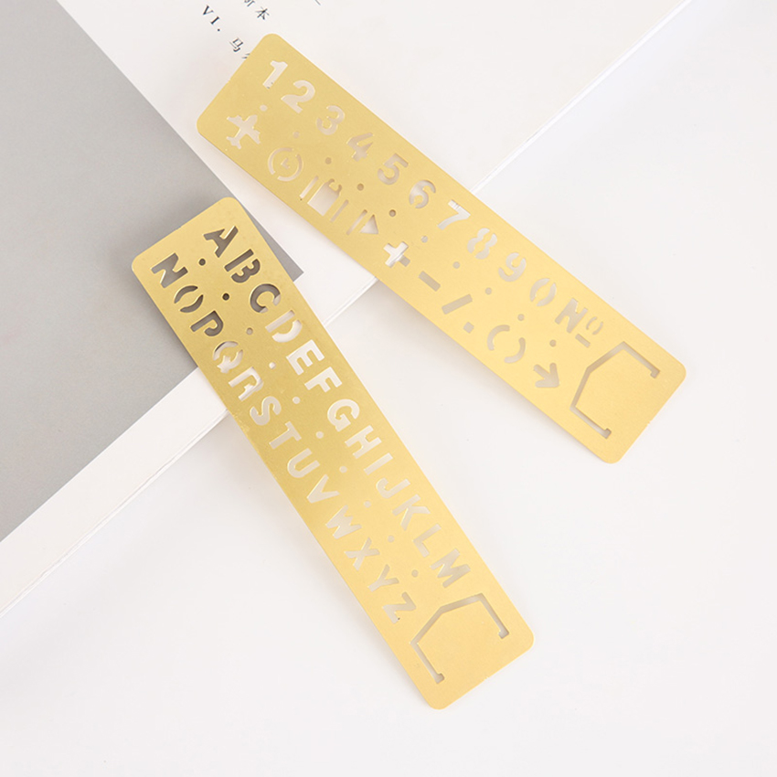 Templates Ruler Brass English Alphabets Stencils And Arabic Numerals Stencils With Symbols For Drawing, Bookmarks 13x3cm