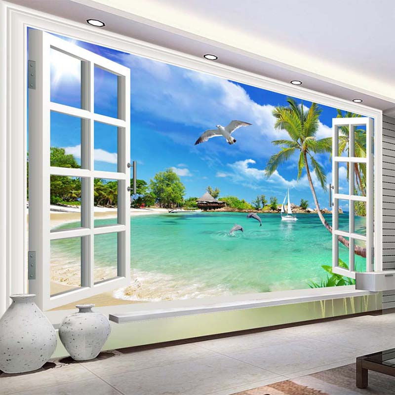 Custom Photo Wallpaper 3D Seaside Landscape Window Mural Wall Cloth Living Room Sofa Home Decor Wall Covering Papel De Parede 3D