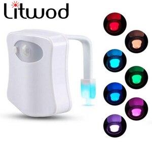Image 2 - Livraison directe Smart PIR capteur de mouvement siège de toilette veilleuse 8 couleurs rétro éclairage cuvette de toilette lampe à LED WC lumière AAA carte de batterie