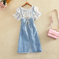 2018 summer new women 2 pieces denim dress sets floral flower ruffles blouse and denim skirts lady elegant clothing suits