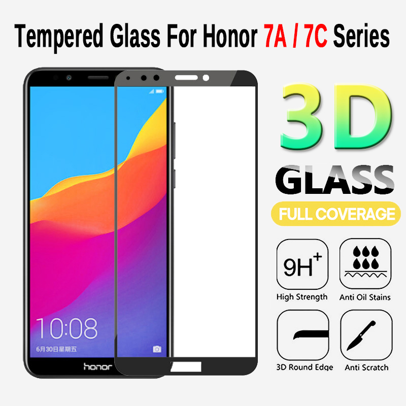 3D Protective Glass On Honor 7A 7C Pro Safety Tempered  Film Glass For Huawei Honor On 7C 7A Pro Screen Protector Full Cover-in Phone Screen Protectors from Cellphones & Telecommunications
