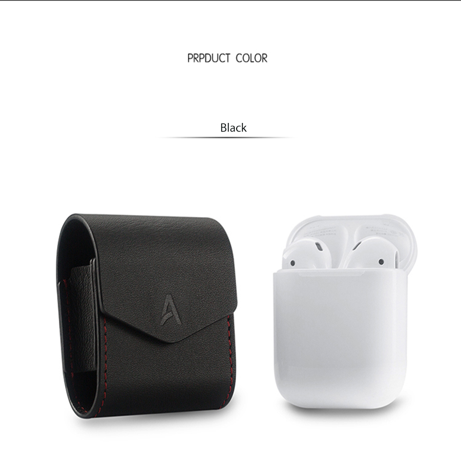 Hot Sale Genuine Leather Cover Pouch Protector 2 Colors Sleeve Strap Earphone Accessories Case for Apple Airpods Air Pods