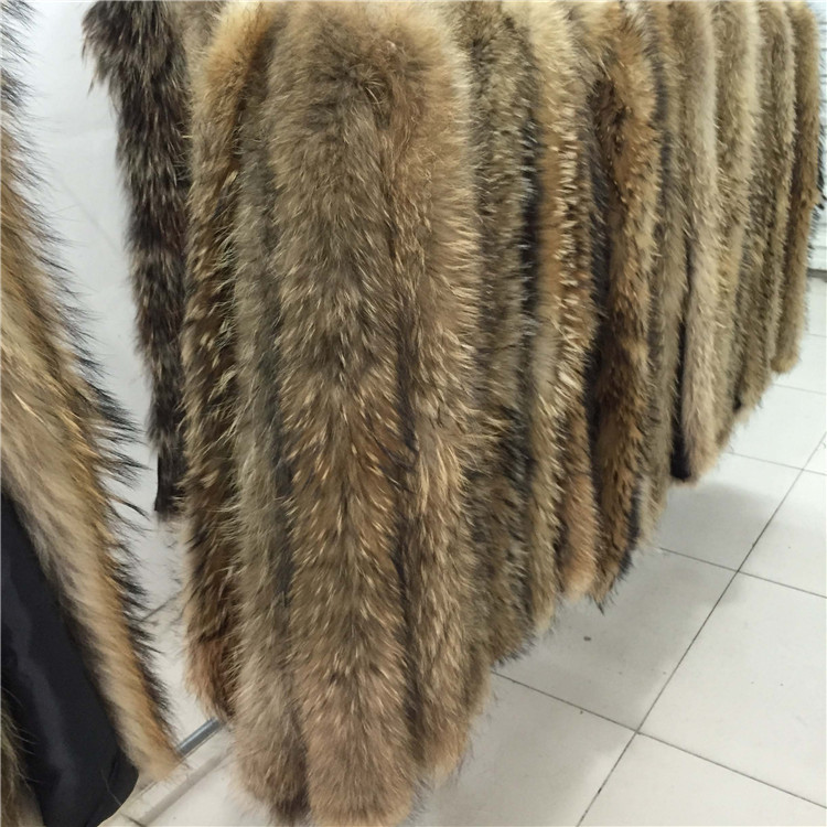 68*14 cm Raccoon raccoon fur strips real fur trim for hood